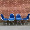 Blue 1970s Herman Miller Eames DSR Eiffel Side thumbnail