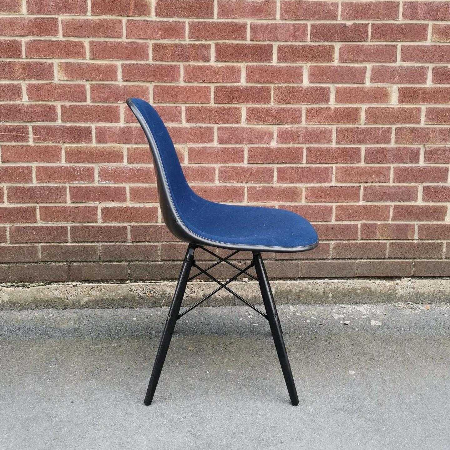 Blue 1970s Herman Miller Eames DSW Dowel Side