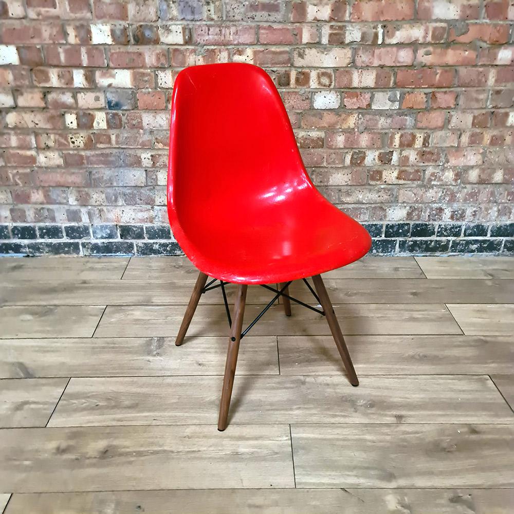 Red 1960s Herman Miller Eames DSW Dowel Side
