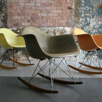 Grouping of vintage RAR rockers in yellow, orange and grey. (Image courtesy of Circa Modern)