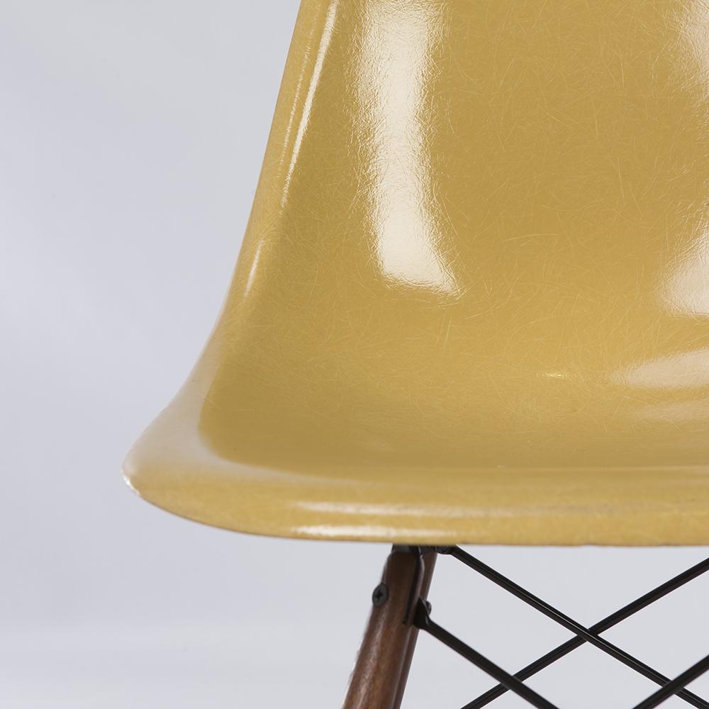 Ochre Light Yellow 1970s Herman Miller Eames DSW Dowel Side