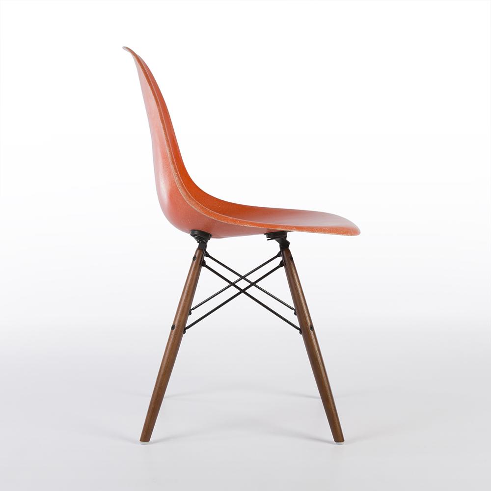 Red Orange 1960s Herman Miller Eames DSW Dowel Side