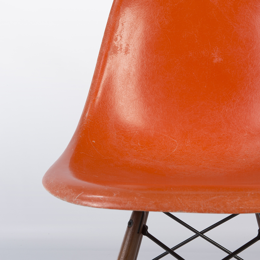 Red Orange 1960s Herman Miller Eames DSW Dowel Side