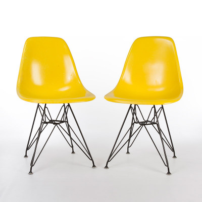 Yellow (YE) pair of Eames DSR Chair with black base