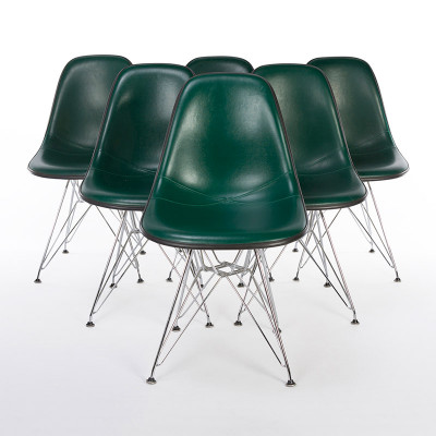 Group Of 1980's green Naugahyde DSR chairs