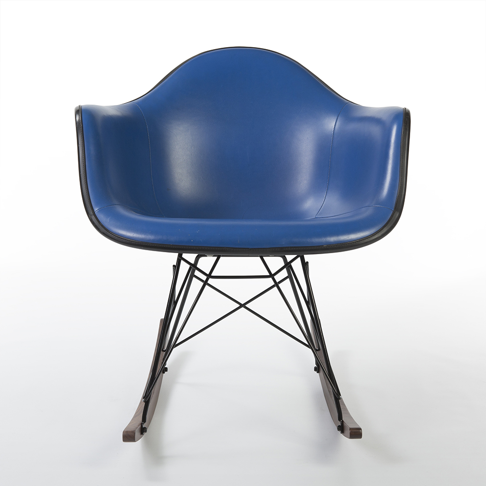 Medium Blue 1980s Herman Miller Eames RAR Rocking Arm