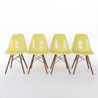 Group of early Lemon Yellow DSW side chairs
