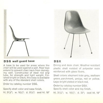 Vintage 1955 Herman Miller brochure for Eames DSX side chair
