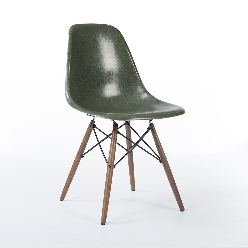 Olive Green 1970s Herman Miller Eames DSW Dowel Side