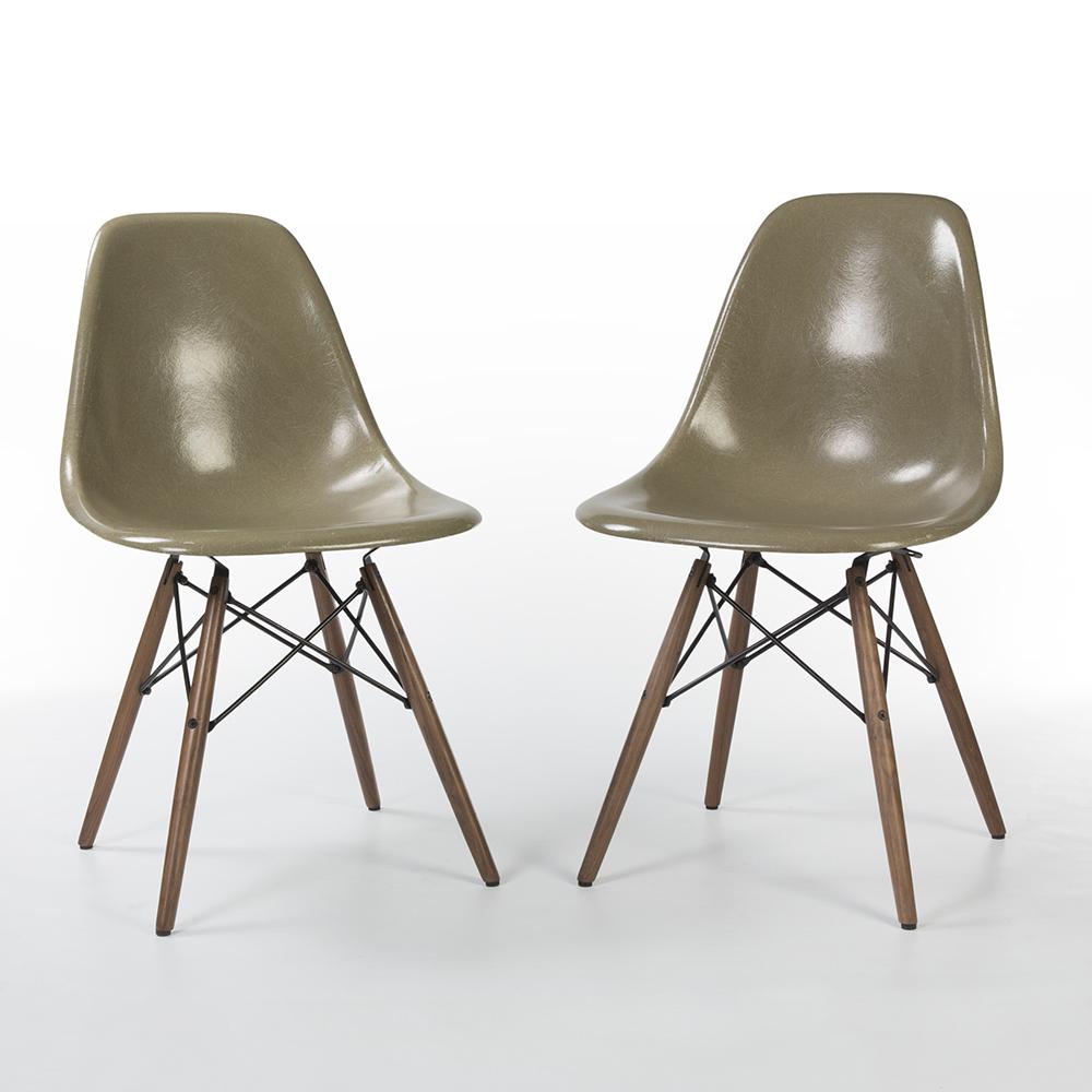 Raw Umber Grey 1960s Herman Miller Eames DSW Dowel Side