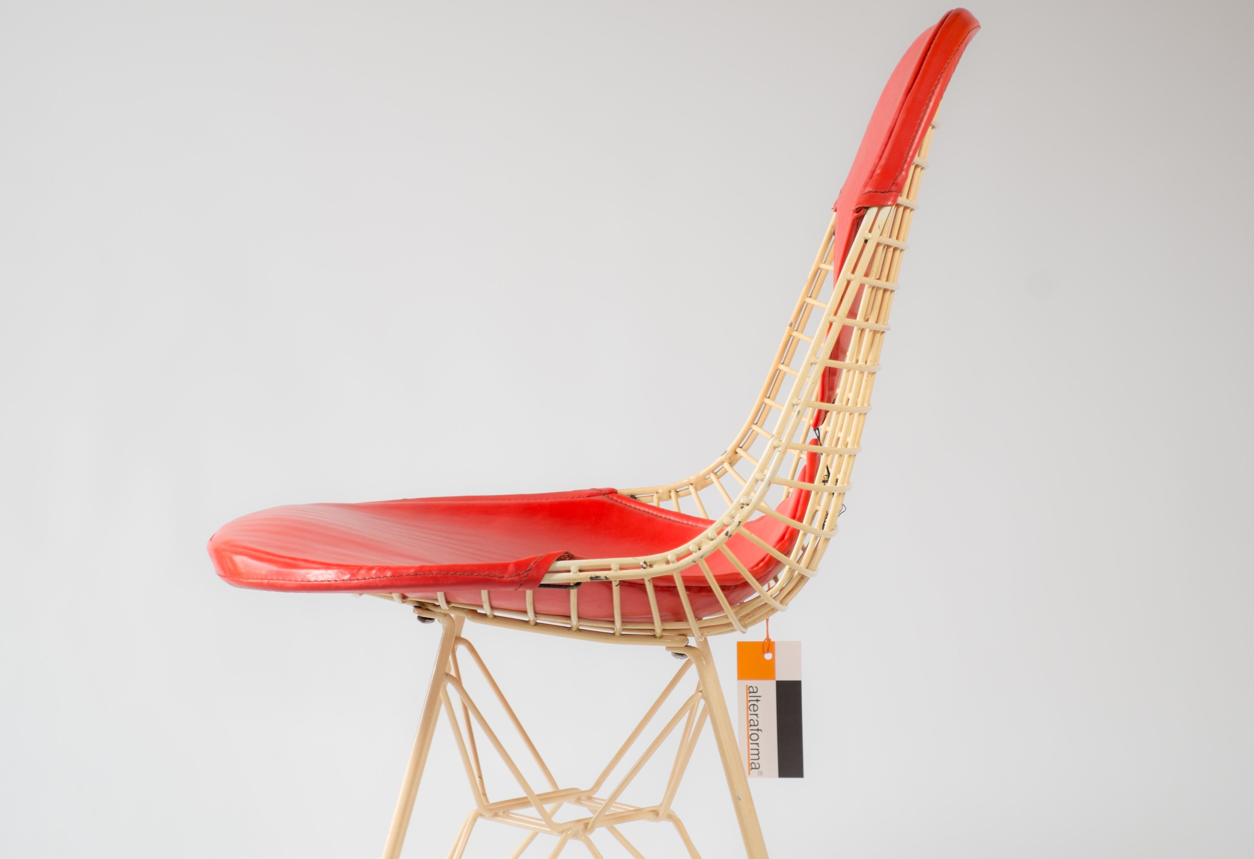 Red 1960s Herman Miller Eames DKR - Eiffel Wire Side