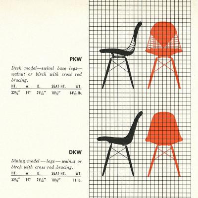 1952 Herman Miller DKR/PKR brochure specs page