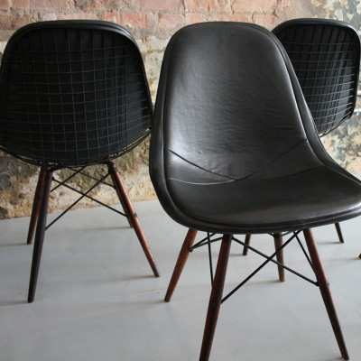 Original group of DKR-1 in black fully upholstered Naugahyde