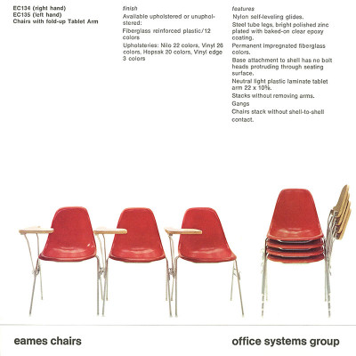 1970's Herman Miller DSS stacking chair specification brochure