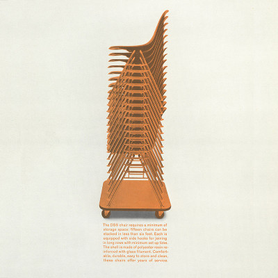 Vintage Herman Miller DSS advert displaying the stacking capability
