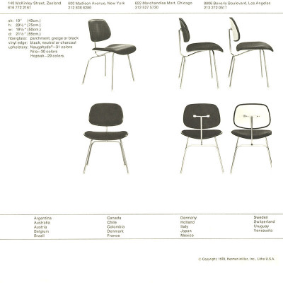 Original 1978 Herman Miller two-piece plastic chair brochure specs