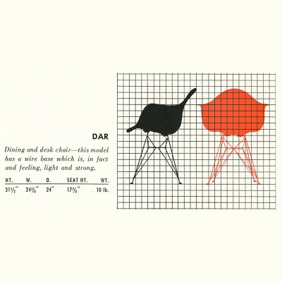 Original 1952 Herman Miller brochure page detailing the DAR specifications