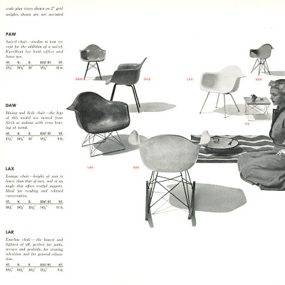 Original 1952 Herman Miller plastic chair series brochure page
