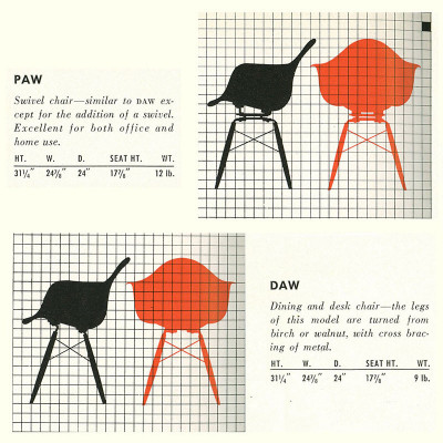 Original 1952 Herman Miller Brochure PAW & DAW Specifications Page