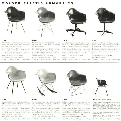 1955 Herman Miller Brochure Page With Second Generation H Base DAX, MAX & DAG