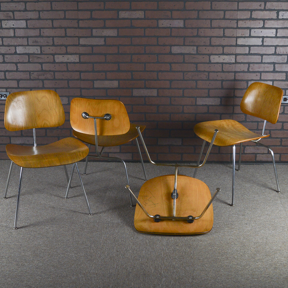 Wooden 1940s Evans Plywood Products Eames DCM - Ply Dining Chair Metal