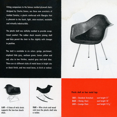 Original 1950 Herman Miller Plastic Chairs Vintage Advert
