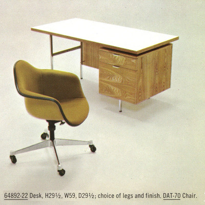 1960's Herman Miller production shot of DAT with workdesk