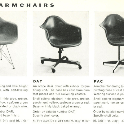 1955 Herman Miller brochure extract for the 1st edition Eames DAT